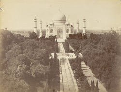 Front view [of the Taj Mahal from the top of the gateway, Agra].